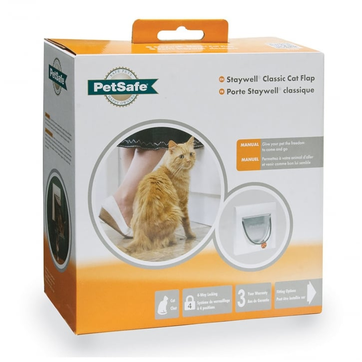 Staywell Manual 4-Way Locking Classic Cat Flap White - 917EF