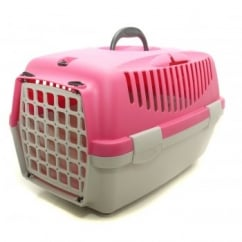 Stefanplast Gulliver 1 Cat & Small Dog Carrier with Plastic Door - Fuchsia