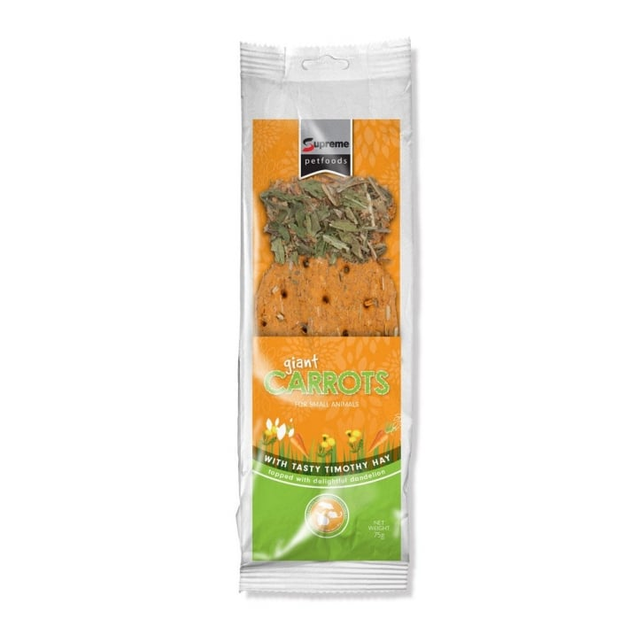 Supreme Giant Carrot with Timothy Hay & Dandelion Small Animal Treat 75g