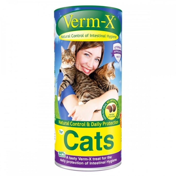 Verm-X Intestinal Health Herbal Crunchies for Cats in 120gm tub