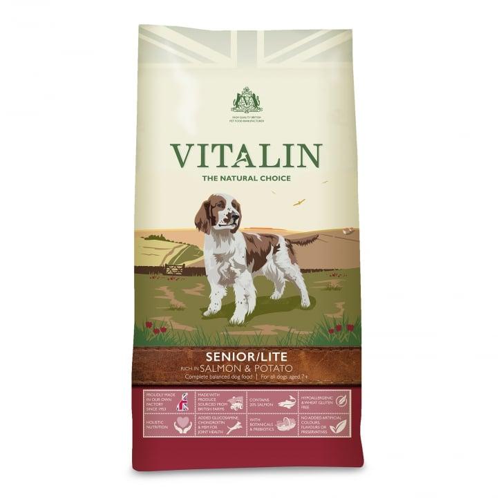 Vitalin Natural Seniorlite Dog Food Salmon Potato 12kg