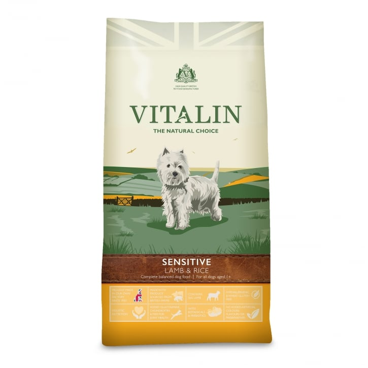 Vitalin Natural Sensitive Adult Dog Food Lamb & Rice 6kg