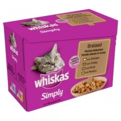 Whiskas Cat Pouch Simply Braised Poultry Tender Pieces in Gravy 12 x 85gm