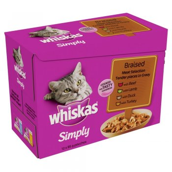 Whiskas Simply Braised Meat Pouches Pack 12x85gm Feedem