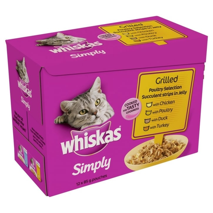 Whiskas Simply Grilled Poultry Pouches in 12x85gm